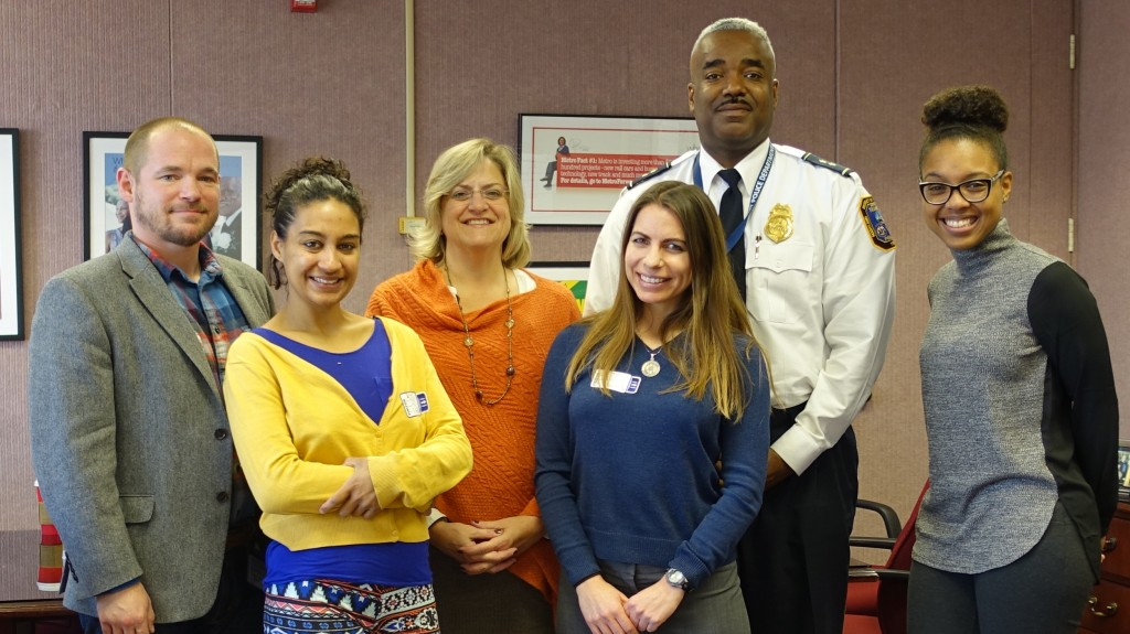 11.23.15 WMATA - SSH - CASS meeting. (L to R): Jason Minser, Jessica Raven, Lynn Bowser, Holly Kearl, Deputy Chief Leslie Campbell, and Morgan Dye