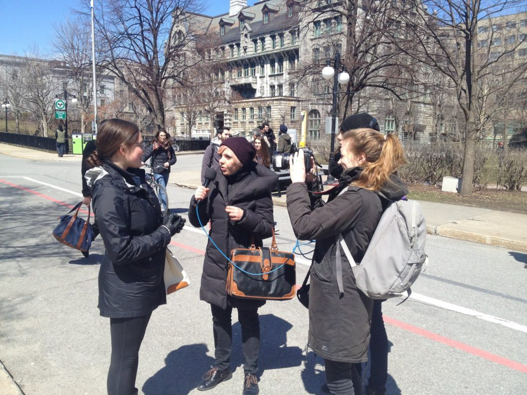 Noémie Bourbonnais, Lucie Pagès and Kathleen Ellis from Women in Cities International interview Montrealer's on their experiences with street harassment during the 2016 Anti-Street Harassment Week